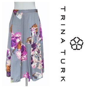 Trina Turk Grey Shiny Floral Petticoat Skirt (4)